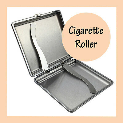 Square Stainless Steel Cigarette Case Cigar Tobacco Box PU Leather Pouch Holder