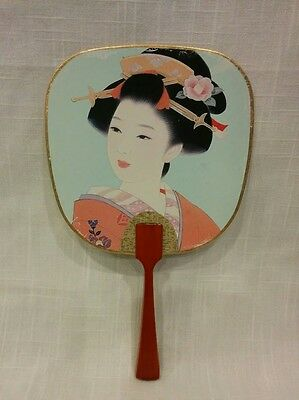 Vintage Geisha girl lady hand fan flower floral wood handle Asian