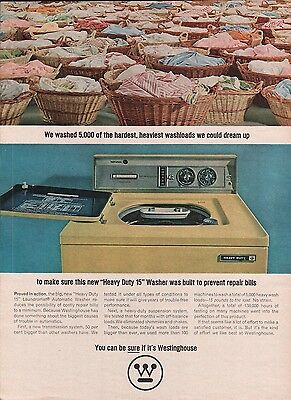 """1965 Westinghouse Heavy Duty 15"""" Washer Clothes Basket Vintage Print Ad"""