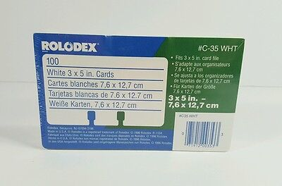 Rolodex GENUINE C-35 White 3x5 Cards 100 Count Refill NEW Sealed