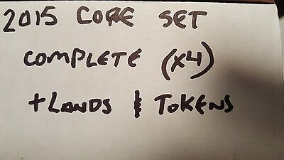 4x 2015 Core Set complete set x4 plus lands and tokens Magic the Gathering
