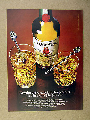 1982 John Jameson's Irish Whiskey bottle 2 drink glasses photo vintage print Ad
