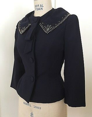 Vtg 50s Navy Wool Silk Jacket Embellished Collar Big Buttons Curvy Fitted B 36