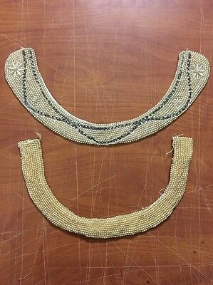Vintage Beaded Sweater Dress Collar Lot Sally Gee Faux Pearl