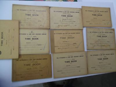 1906-1909 Pittsburgh and Lake Erie Railroad Time Book Lot of 10 PLE Beaver Falls