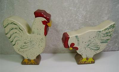 Set or Lot of 2 Wood Chicken Figurines Hand Painted Farmhouse Country Cottage