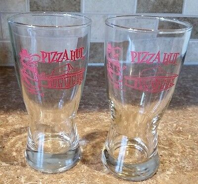 Vintage Pizza Hut Pilsner Beer Glass-Set of 2- Advertising - Excellent Condition
