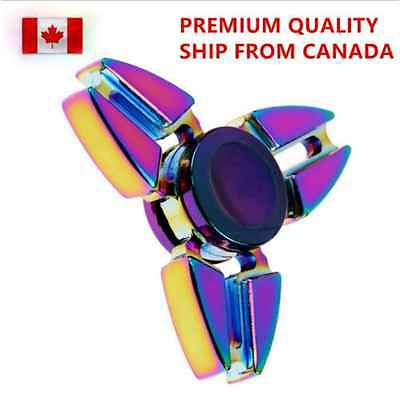 Fidget Hand Spinner Rainbow Tri Aluminum Metal EDC Toys Gyro Stress Relief Kids