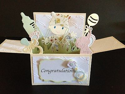 Handmade card, 3D Baby Card in a box 2 -PERSONALISED