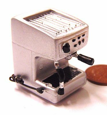 1:12 Scale Dolls House Cafe Kitchen Drink Accessory Silver Resin Coffee Machine