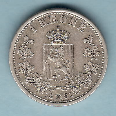 Norway. 1881 One Krone..  Part Lustre..  gVF - RARE Date