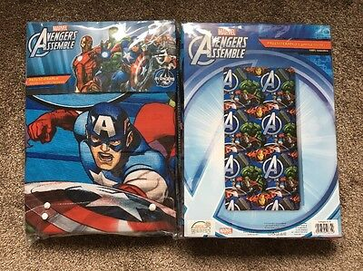 2 MARVEL AVENGERS ASSEMBLE Iron Man Hulk Thor CaptainAmerica SINGLE FITTED SHEET