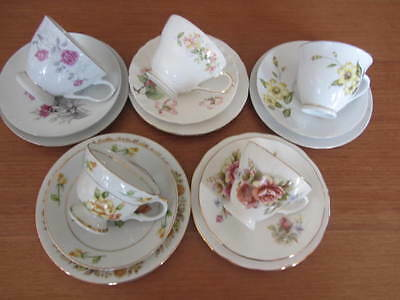 Mixed Vintage Lot Of Floral Cup Saucer Plate Trios