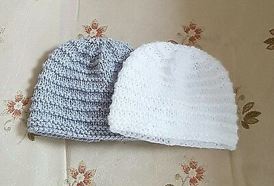 Pack of 2  hand knitted baby Hat  in size newborn