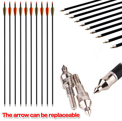 "Heavy Duty 32"" Fibreglass Arrows Target Bow Archery Hunting Compound Screw Tip"