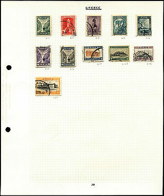 Greece Album Page Of Stamps #V4691
