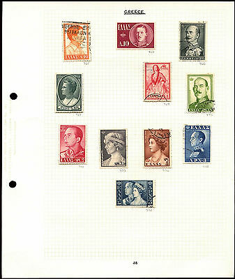 Greece Album Page Of Stamps #V4698