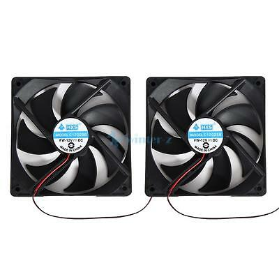 2 X 4Pin 120mm 120x25mm 12V Computer PC Coolant Cooling Temperature Case Fan
