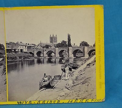 1860s Stereoview Photo Wye Bridge & Cathedral Hereford By Francis Bedford