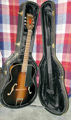 """1950's (?) Harmony H1213 """"Archtone"""" Archtop Acoustic Guitar W/ Real Hardcase"""