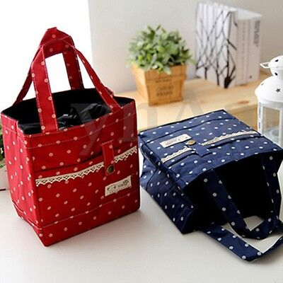 Ladies Portable Thermal Insulated Foil Lunch Bag School Picnic Snack Tote Pouch
