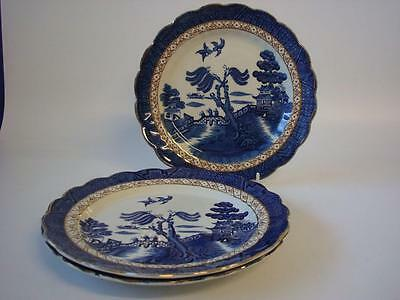 """Booths Real Old Willow A 8025  3 X 8.25"""" Salad Plates"""