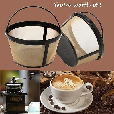 2 PACK Mr Coffee GTF2 Basket Style 10-12 Cup Gold Tone Permanent Coffee Filter