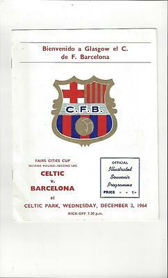 Celtic v Barcelona Fairs Cup Football Programme 1964/65