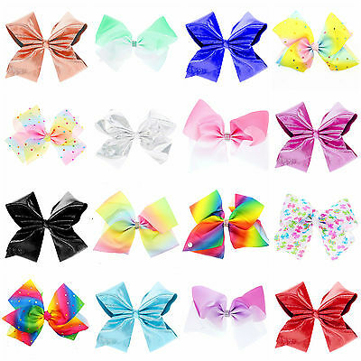 8 inch Large Hair Bow rainbow Bows Dance Moms girls accessories kids clip romany