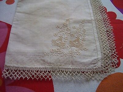 Vintage Fine Crochet Lace  & Embroidered Handkerchief Ideal Bride Wedding Hanky