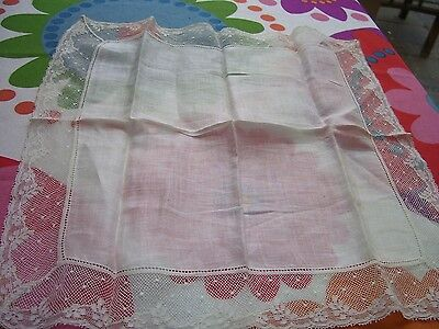 Vintage Antique Fine Cotton Lace Edged Handkerchief Ideal Bride Wedding Hanky