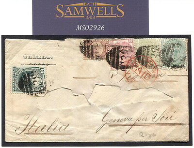 MS2926 1878 GB USED ABROAD PERU *Mixed Franking* 1s7.5d Combination Cover Genoa