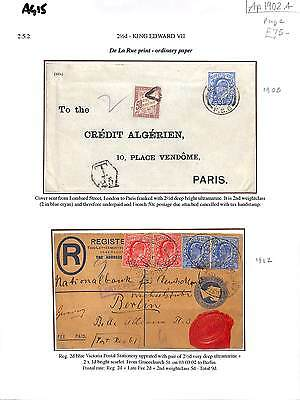 AG15 1902 GB KEVII DLR 2.5d Issue Usages incl' Underpaid FRANCE Dues