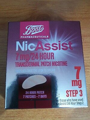 Nicassist 7mg Patch 24 Hour Step 3 -7 x 24 Hour Transdermal Patches Exp 08/2018