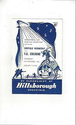 Sheffield Wednesday v Cologne Fairs Cup Football Programme 1963/64