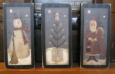 Santa Snowman Christmas Tree Country Primitive Rustic Shelf Sitter Blocks Set