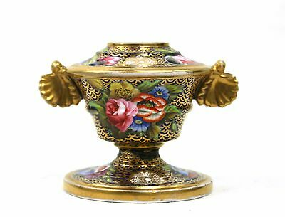 Antique Georgian Spode Porcelain Pedestal Inkwell Gilt Floral c.1800-30's