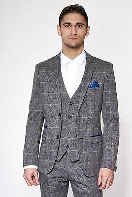 Mens Marc Darcy Designer Grey Check Tweed Blazer Tailored Jacket