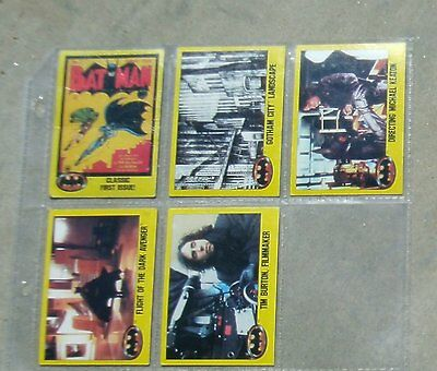 Five 1989 Topps Batman 2nd Series Trading Cards