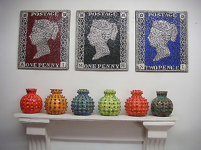 Queen Victoria Penny Black Penny Red and Two Pence Blue Mosaic Stamp Picture Art