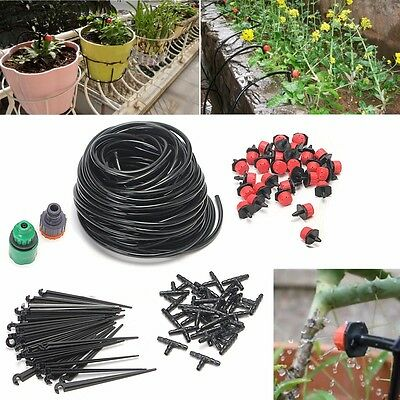 25m DIY Micro Drip Irrigation System Plant Self Garden Watering Hose Drippers