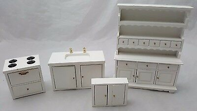 1:12th SCALE 4 PIECE DOLLS HOUSE KITCHEN / COOKER / SINK / DRESSER / WALL UNIT.