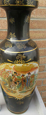 VINTAGE VERY RARE and tall SATSUMA JAPANASE VASE w/geisha girls. Hard to find !!