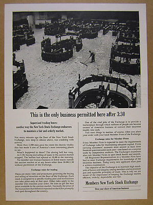 1963 New York Stock Exchange NYSE Trading Rules floor photo vintage print Ad