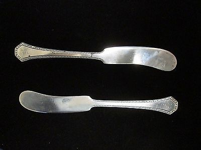 Pair of 1912 Reed & Barton Sterling Silver Copley Flat Butter Spreaders Mono B
