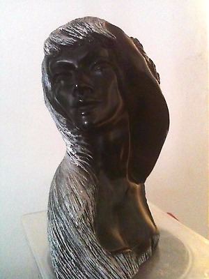 "Frank Schirman Black Coral Sculpture "" Laka "" Rare & Authentic"