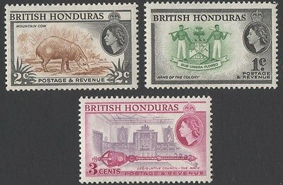 British Honduras. 1953 -1957 Country Images. 1c, 2c, 3c.  MLH