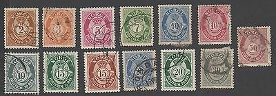 Norway stamps. 1893 -1910 Posthorn. Cancelled