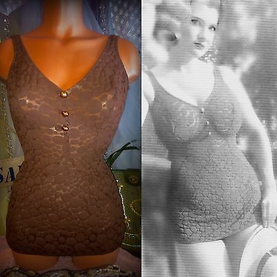 50s Cole California Sheer Fishnet Lace Pin Up Bombshell Rockabilly Swimsuit 12