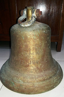 Vintage Marine Brass Ship Bell Of Elk 77June One Piece 18Kg Nice Condition
